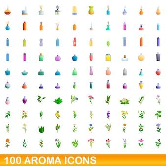 100 aromasymbole eingestellt. karikaturillustration von 100 aromaikonenvektorsatz lokalisiert auf weißem hintergrund