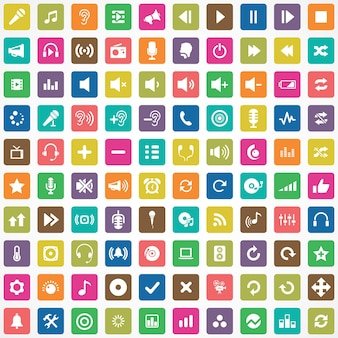 100 audiosymbole großes universelles set