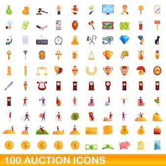 100 auktionssymbole eingestellt. karikaturillustration von 100 auktionsikonen, die auf weißem hintergrund lokalisiert werden