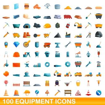 100 ausrüstungssymbole eingestellt. karikaturillustration von 100 ausrüstungsikonen gesetzt lokalisiert auf weißem hintergrund