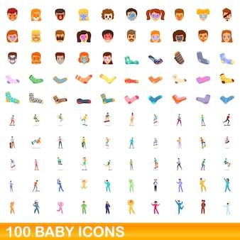 100 babyikonen eingestellt. karikaturillustration von 100 babyikonenvektorsatz lokalisiert auf weißem hintergrund
