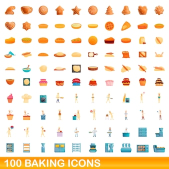 100 backikonen eingestellt. karikaturillustration von 100 backenikonenvektorsatz lokalisiert auf weißem hintergrund