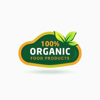 100% bio-lebensmittelprodukt aufkleber zertifiziertes etikett