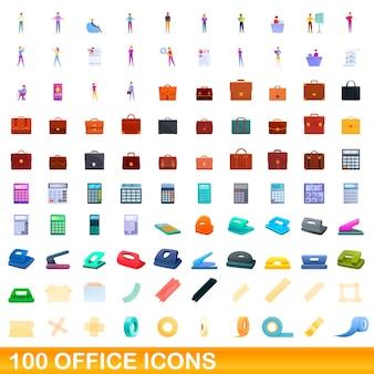 100 büroikonen eingestellt. karikaturillustration von 100 büroikonenvektorsatz lokalisiert auf weißem hintergrund