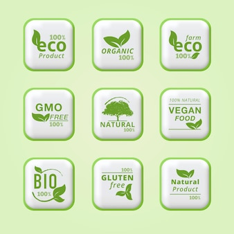 100 eco farm ökologische blätter etiketten grünes symbol reines bio-frischprodukt-etikett-design