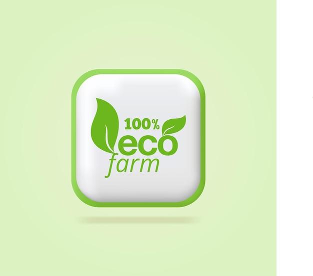 100 eco farm ökologische blätter etiketten grünes symbol reines organisches frisches produktetikettendesign3d-symbol