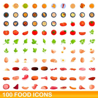 100 essenssymbole eingestellt. karikaturillustration von 100 nahrungsmittelikonen eingestellt lokalisiert auf weißem hintergrund