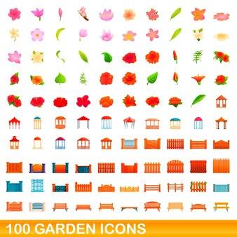 100 gartenikonen eingestellt. karikaturillustration von 100 gartenikonen-vektorsatz lokalisiert auf weißem hintergrund