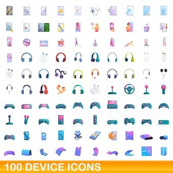 100 gerätesymbole eingestellt. cartoon-illustration von 100 gerätesymbolen vektor-set isoliert auf weißem hintergrund