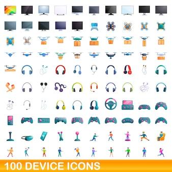 100 gerätesymbole eingestellt. karikaturillustration von 100 gerätesymbolen, die auf weißem hintergrund lokalisiert werden