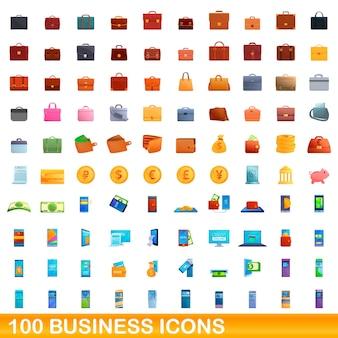 100 geschäftsikonen eingestellt. karikaturillustration von 100 geschäftsikonen eingestellt lokalisiert