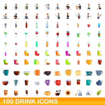 100 getränkesymbole eingestellt. karikaturillustration von 100 getränkeikonen, die auf weißem hintergrund lokalisiert werden
