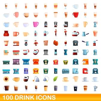 100 getränkesymbole gesetzt. karikaturillustration von 100 getränkeikonenvektorsatz lokalisiert auf weißem hintergrund