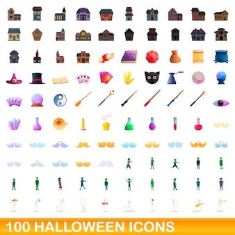 100 halloween-ikonen eingestellt. karikaturillustration von 100 halloween-ikonenvektorsatz lokalisiert auf weißem hintergrund