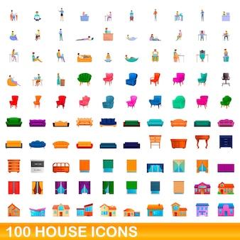 100 hausikonen eingestellt. karikaturillustration von 100 hausikonen eingestellt lokalisiert auf weißem hintergrund