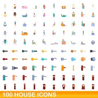 100 hausikonen eingestellt. karikaturillustration von 100 hausikonenvektorsatz lokalisiert auf weißem hintergrund