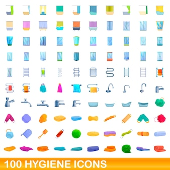 100 hygienesymbole eingestellt. karikaturillustration von 100 hygieneikonen eingestellt lokalisiert
