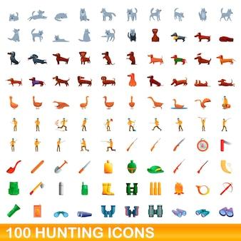 100 jagdikonen eingestellt. karikaturillustration von 100 jagdikonenvektorsatz lokalisiert auf weißem hintergrund