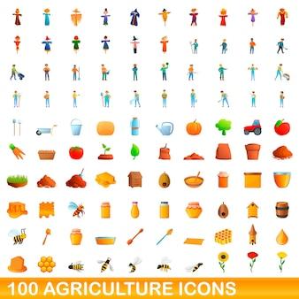 100 landwirtschaftsikonen eingestellt. karikaturillustration von 100 landwirtschaftsikonen, die auf weißem hintergrund lokalisiert werden