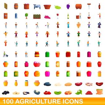 100 landwirtschaftsikonen eingestellt. karikaturillustration von 100 landwirtschaftsikonen eingestellt lokalisiert