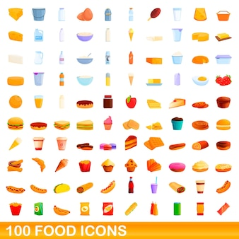 100 lebensmittelikonen eingestellt. karikaturillustration von 100 lebensmittelikonen-vektorsatz lokalisiert auf weißem hintergrund