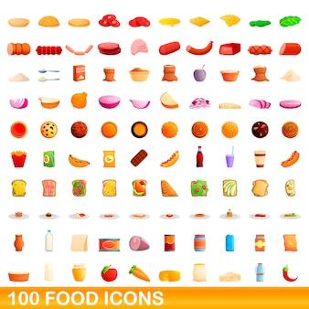 100 lebensmittelikonen eingestellt, karikaturstil