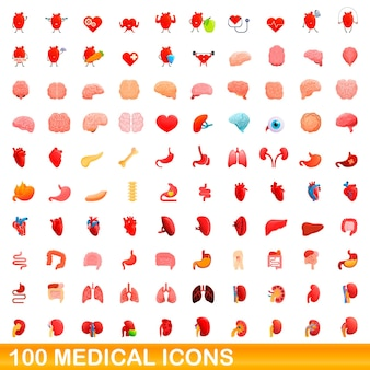 100 medizinische symbole gesetzt. karikaturillustration von 100 medizinischen ikonen eingestellt lokalisiert