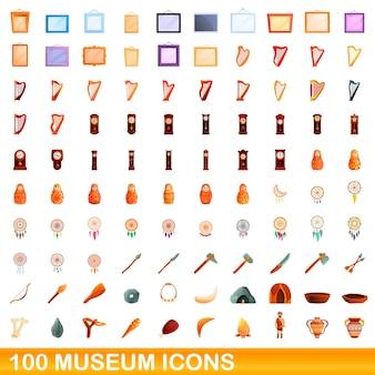 100 museumsikonen eingestellt. karikaturillustration von 100 museumsikonenvektorsatz lokalisiert auf weißem hintergrund