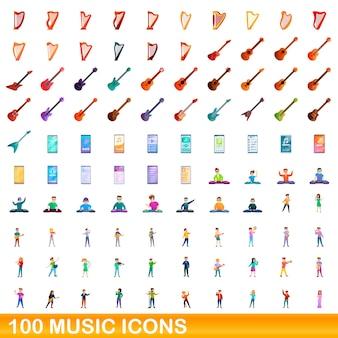 100 musiksymbole eingestellt. karikaturillustration von 100 musikikonen gesetzt lokalisiert auf weißem hintergrund