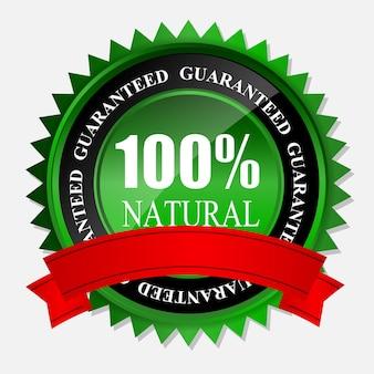 100% natürliches grünes etikett isoliert auf white.vector illustration