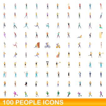 100 personensymbole eingestellt. karikaturillustration von 100 leutenikonenvektorsatz lokalisiert auf weißem hintergrund