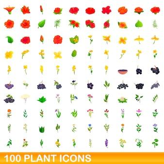 100 pflanzensymbole eingestellt. karikaturillustration von 100 pflanzenikonen-vektorsatz lokalisiert auf weißem hintergrund