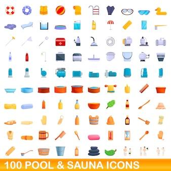 100 pool- und saunasymbole eingestellt. karikaturillustration von 100 pool- und saunaikonenvektorsatz lokalisiert auf weißem hintergrund