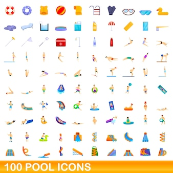 100 poolsymbole eingestellt. cartoon-illustration von 100 pool-icons set isoliert