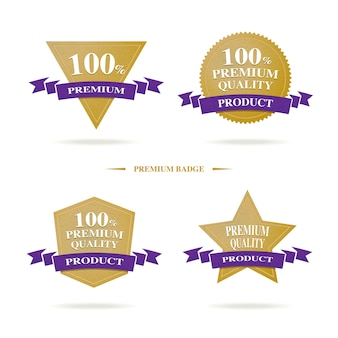 100% premium-qualität-abzeichen-logo mit gold und dunkellila farbe, luxus-banner-produkt