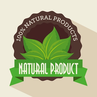 100 prozent natürlicher aufkleber mit blättern über beige hintergrund. vektor-illustration.