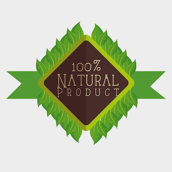 100 prozent natürlicher aufkleber mit blättern und band über weißem hintergrund. vektor-illustration.