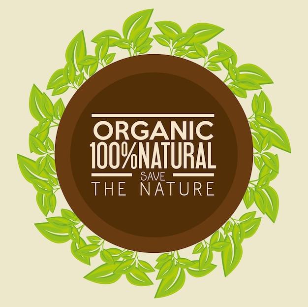 100 prozent natürlicher aufkleber mit grünen blättern über beige hintergrund. vektor-illustration.
