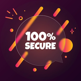 100 prozent sicher. sprechblasenbanner mit 100 prozent sicherem text. glasmorphismus-stil. für business, marketing und werbung. vektor auf isoliertem hintergrund. eps 10.