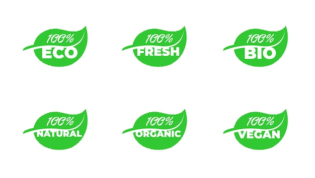 100 prozent zertifizierte qualität ökofrisch, bio, natürlich, organisch, vegan, grean leaf-produktabzeichen-kollektion. vektor-gesunde ökologie-pflanzen-label-set isolierte eps-illustration