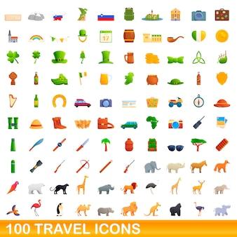 100 reisesymbole eingestellt. karikaturillustration von 100 reiseikonen eingestellt lokalisiert auf weißem hintergrund