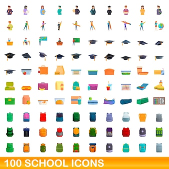100 schulikonen eingestellt. karikaturillustration von 100 schulikonen gesetzt lokalisiert auf weißem hintergrund