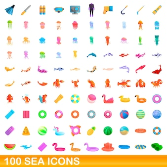 100 seeikonen eingestellt. karikaturillustration von 100 seeikonen gesetzt lokalisiert auf weißem hintergrund