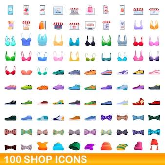 100 shop-icons eingestellt. karikaturillustration von 100 ladenikonen, die auf weißem hintergrund lokalisiert werden