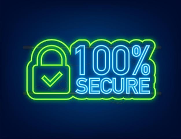 100 sichere grunge-vektor-neon-symbol. abzeichen oder schaltfläche für handelswebsite. vektorgrafik auf lager.