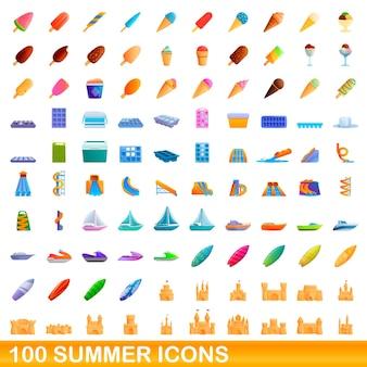 100 sommerikonen eingestellt. karikaturillustration von 100 sommerikonen gesetzt lokalisiert auf weißem hintergrund
