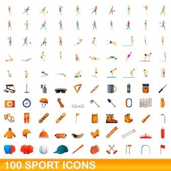 100 sportikonen eingestellt. karikaturillustration von 100 sportikonenvektorsatz lokalisiert auf weißem hintergrund