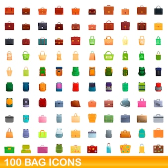 100 taschensymbole gesetzt. karikaturillustration von 100 taschenikonen eingestellt lokalisiert
