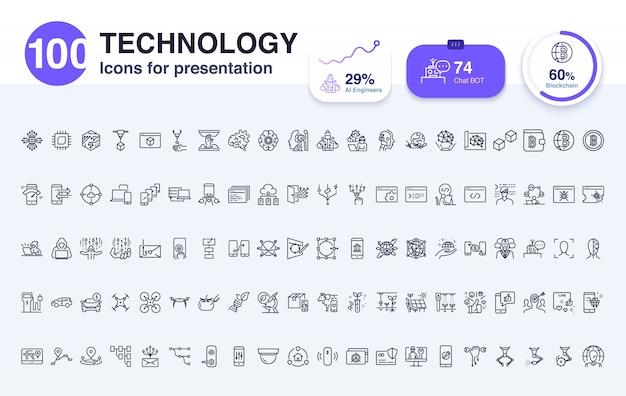 100 technologie liniensymbol für die präsentation