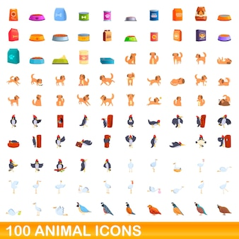 100 tierikonen eingestellt. karikaturillustration von 100 tierikonenvektorsatz lokalisiert auf weißem hintergrund